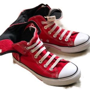 Red and white Chuck Taylor Converse